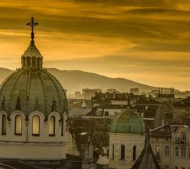 Beautiful sunset over Temple St. St. Cyril and Methodius against the backdrop of Vitosha Mountain in Sofia. Bulgaria