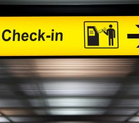 self check in kiosk touch screen interactive display sign at the airport